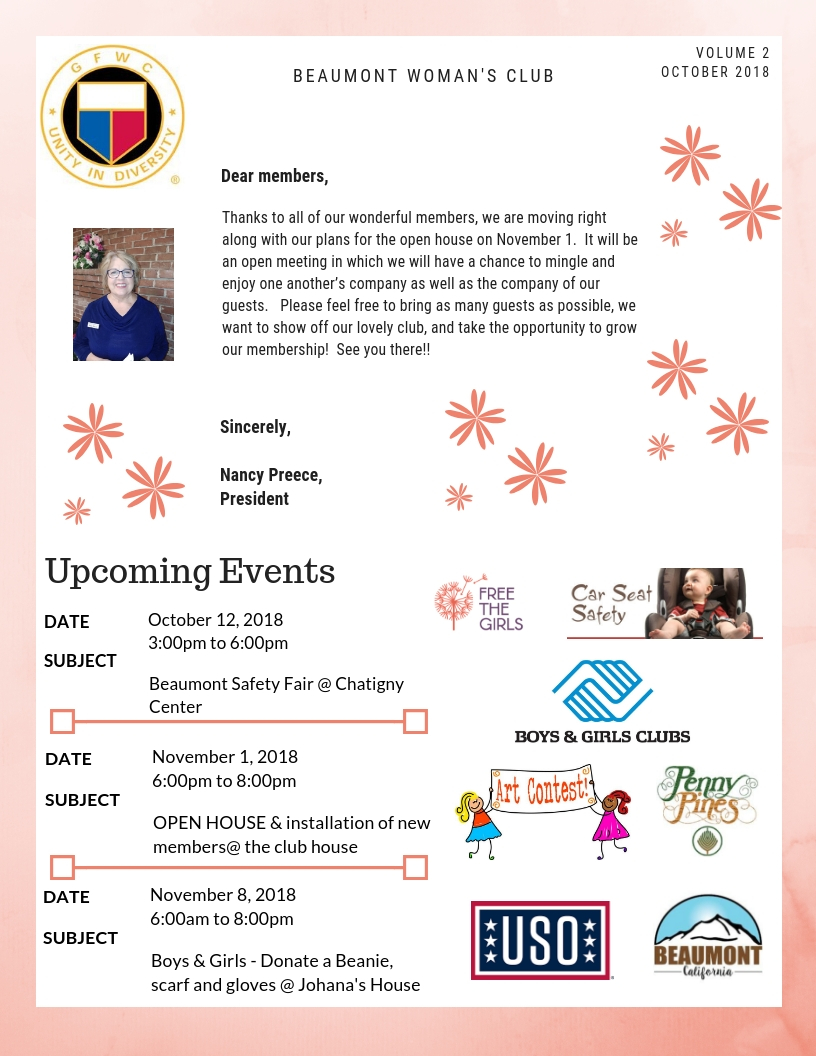 BEAUMONT-WOMANS-CLUB -NEWSLETTER-OCTOBER
